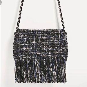 Zara Bags - Zara Tweed Fringed Crossbody Bag